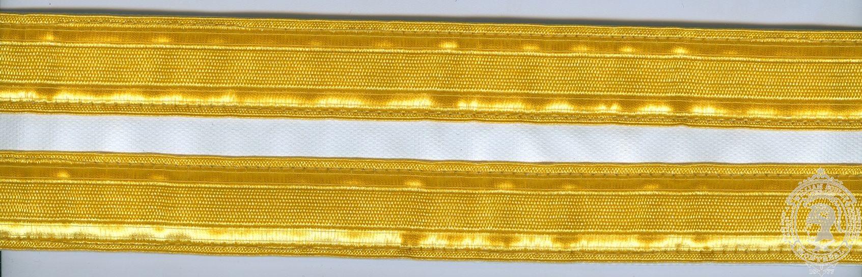 """2-1/4"""" Ceremonial Belt, White Poplin, 2 Rows 1"""" Gold Naval Braid"""