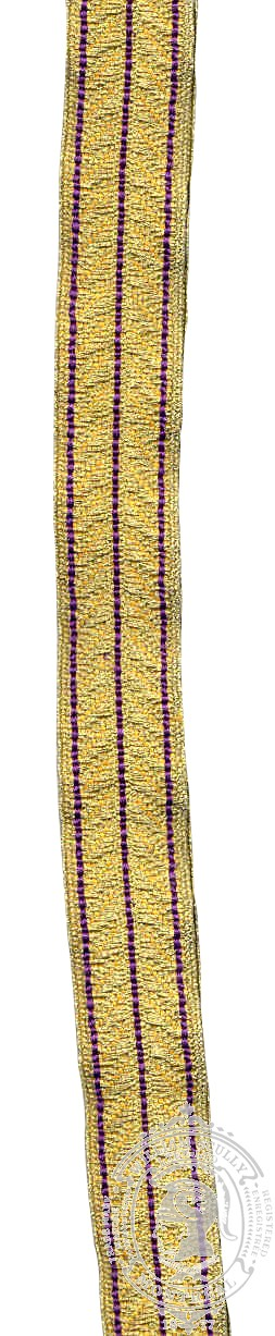 Gold Braid with 3 Royal Purple Stripes (mtr)
