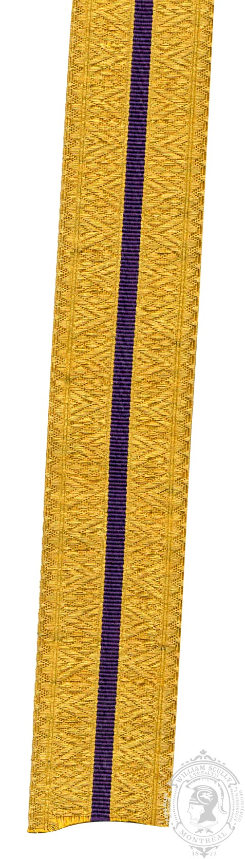 Gold Braid with 1 Royal Purple Stripe (mtr)