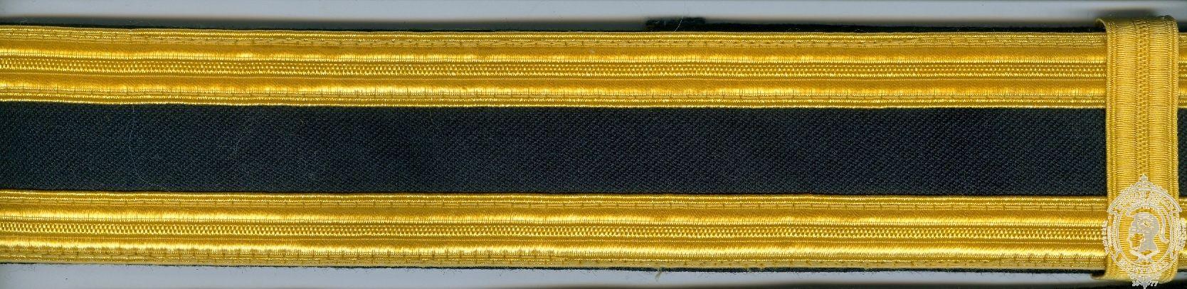 "1-3/4"" Ceremonial Belt, Fabric, 2 Rows 1/2"" Naval Braid"