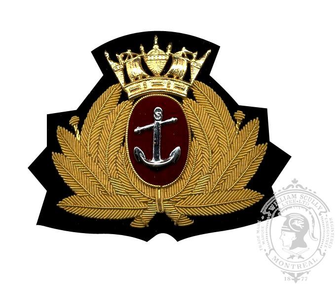 Écusson de képi brodé et métal Marine marchande