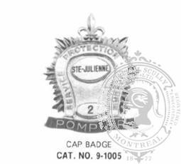 9-1005 Municipal Fire Department Cap Badge