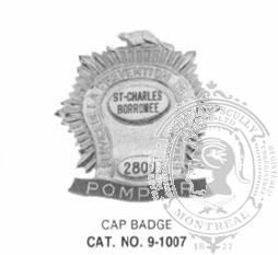 9-1007 Municipal Fire Fighter Cap Badge